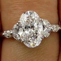 Reserved..Vintage Colorless GIA 2.02ct OVAL Cut Diamond Engagement Wedding Ring in Platinum