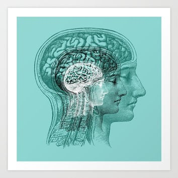 Meditating Brain Art Print by Catherine Holcombe