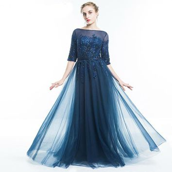 Gown Dark Blue Lace Mother of The Bride Dresses Half Sleeve Sequined Appliques Party Dress