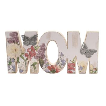 Home Decor FLORAL MOM SIGN Wood Butterflies Mother's Day Er54191