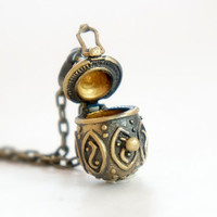 Tiny Pattern Egg Locket - Vintage Style Antiqued Brass Egg Locket Necklace - LN032