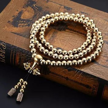 108 Buddha Beads Necklace Chain Outdoor Full Steel Self Defense Hand Bracelet Chain Personal Protection Multi Tools