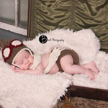 Baby Aviator Set Brown Cream Burgundy Newborn Photo Prop