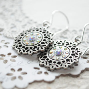 Boho Summer Earrings Lacey disk earrings in by littlejarofhearts