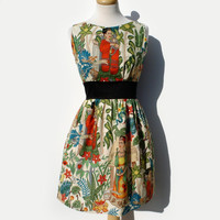 Frida Kahlo Dress/  Vintage Inspired/  50s Inspired Frida Dress / Mexican / Rockabilly / Boho