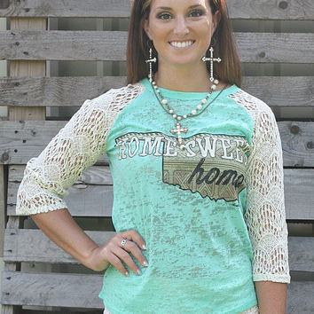 Home Sweet Home Baseball Burnout Tee with Ivory Lace Sleeves