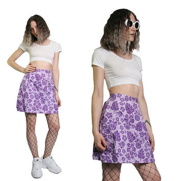 90s High Waisted Skort 1990s Skort - Tropical Floral Skirt Shorts - High Rise Pastel Goth Grunge - Size Small - Purple Cute Kawaii Surfer