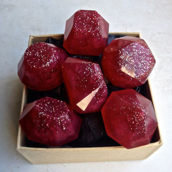 Cupid's Rubies Soap Jewels - Organic Soap, Black Cherry Scented - 6 Soap Jewels, Red Glitter Soap Gems, Guest Soap, Valentine's Gift