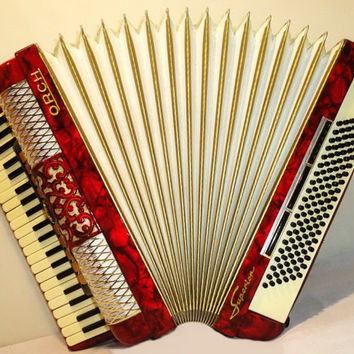 HORCH SUPERIOR 120 bass Perfect German Piano Accordion Accordian Weltmeister 227