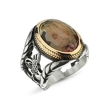 Zultanite gemstone with double eagle headed and calligraphy 925k sterling silver mens ring