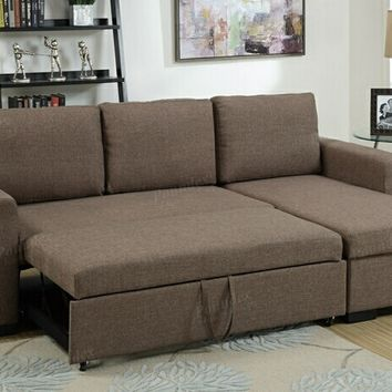 2 pc daryl collection light coffee polyfiber fabric upholstered sectional sofa set with pull out sleep area