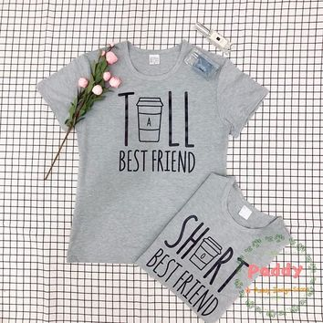 OKOUFEN funny cute graphic partner twins tshirt cool hipster TALL SHORT BEST FRIEND t-shirt tops crewneck tumblr unisex fashion