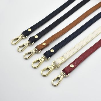 DIY Shoulder Straps for handbags Genuine Leather Wallet Leather Strap Handle Replace Strap bag Gold Buckle parts 120*1.2cm
