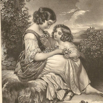 Spring Flowers - Antique Engraving from 1850s Young Girl Gathers Spring Flowers For Her Mother– Painted by J Holmes Engraved by F Humphrys