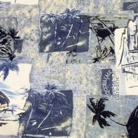 Mens Hawaiian Shirt 3XL Hilo Hattie Palm Tree Grass Shack Print Aloha Camp Shirt
