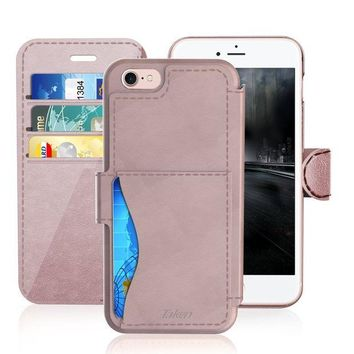 VONW3Q iPhone 6/6S Plus Leather Wallet Plastic Case with Cards Slot and Metal Clip, TAKEN Apple i Phone 6S Flip Cover, Vintage and Fashion, Durable and Shockproof Holster, 5.5 Inch (Rose Gold) 2014/2015