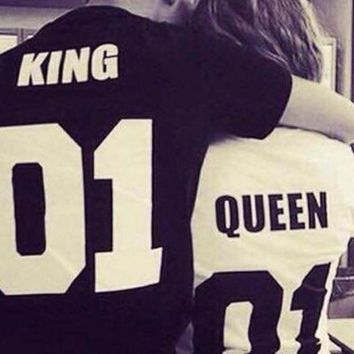 DCCKWQA summer tops 2016 king queen couple clothes couple clothes  anime 2017 couple shirt funny t shirts women kings queens