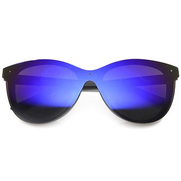Ultra Futuristic Flat Shield Sunglasses With Mirror Lenses 9737