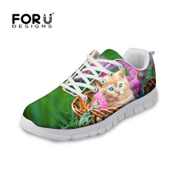 FORUDESIGNS Casual Flat Shoes Woman Fashion 3D Cute Animal Cat Pattern Women Lace-up Light Leisure Shoes Flats for Ladies Mujer