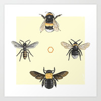 Bees on bees Art Print by Camila Quintana S