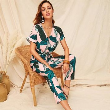 Knot Front Tropical Print Blouse And Pants 2 Piece Set Women Boho V neck Short Sleeve Crop Top Two Piece Set Matching Sets