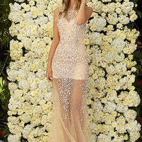 G2084 Nude Jeweled Sheer Illusion Prom Dress Evening Gown