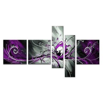 Purple Burst Abstract Canvas Wall Art Oil Painting