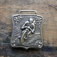 Vintage Motorcycle Watch Fob, Brass Motorbike Tag, Motorcycle Racing Fob, Father's Day Gift