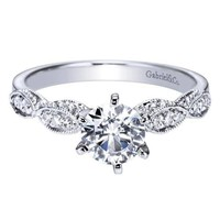 14K White Gold .85cttw Victorian Inspired Round Diamond Engagement Ring with Marquise Shaped Stations