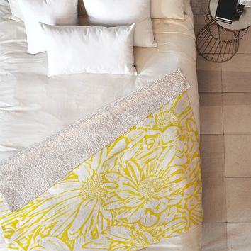 Lisa Argyropoulos Daisy Daisy In Golden Sunshine Fleece Throw Blanket