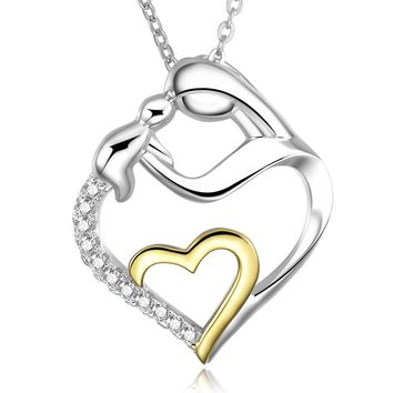 Mother and Child Cubic Zirconia Heart Pendant Necklace in Two Tone 925 Solid Sterling Silver