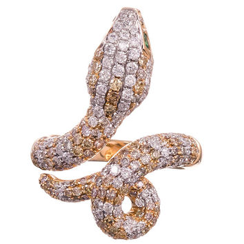 Two Color Diamonds Garnet Gold Snake Ring