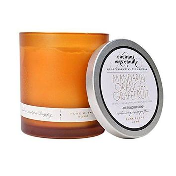 PURE PLANT HOME MANDARIN ORANGE & GRAPEFRUIT FROSTED GLASS CANDLE 8 OZ. JAR