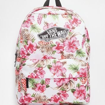 Vans Realm Backpack in Cream Hawaiian Print