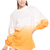 TESS - WOMENS LONG SLEEVE OMBRE  FOOTBALL TEE