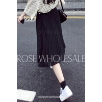 Vintage Solid Color Midi Pleated Skirt For Women