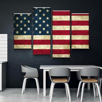 Rustic American Flag Canvas Set