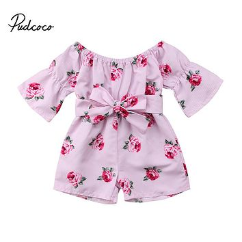 Summer Princess Baby Girls Floral Romper Off shoulder Flare Sleeve Loose Bow Striped Jumpsuit Playsuit Sunsuit Overalls Clothes