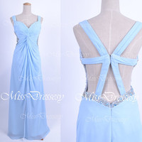 Straps Sweetheart Neck with Beading Sky Blue Prom Dresses, Blue Evening Gown, Wedding Party Dresses, Bridesmaid Dresses