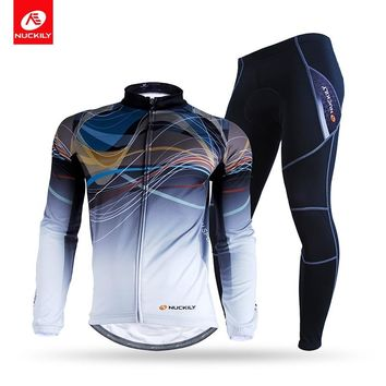 NUCKILY Winter Men's Cycling Apparel Road Bike Fleece Rear Pocket Bicycle Jersey With Tights Set  NJ531-WNS900-W