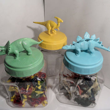 Nursery or Boys Room Decor - Plastic Dinosaur Jars  - set of 3 - Baby Shower or Gift