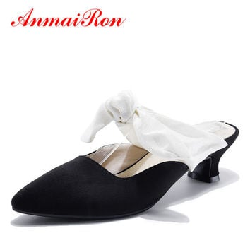 ANMAIRON Pointed Toe Slingback Women Sandals Genuine Leather Lace-up Bowtie Pumps Low Heel Classic Black Mules Shoes Summer