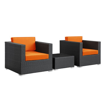 Burrow 3 Piece Outdoor Patio Sectional Set in Espresso Orange