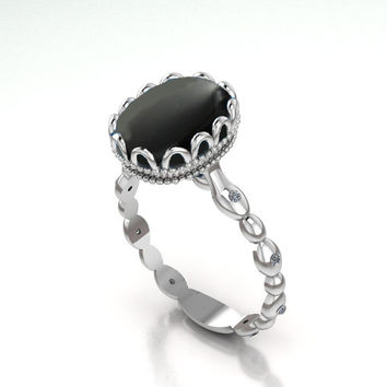 Black Onyx ring, Onyx Engagement Ring, Solitaire Ring, 18K White gold, July Birthstone