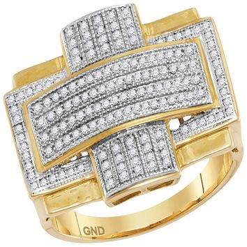 10kt Yellow Gold Mens Round Diamond Convex Cross Rectangle Cluster Ring 1/2 Cttw