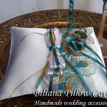 Hand painted Satin white ring bearer pillow peacock feathers in gold and turquoise personalized wedding favor