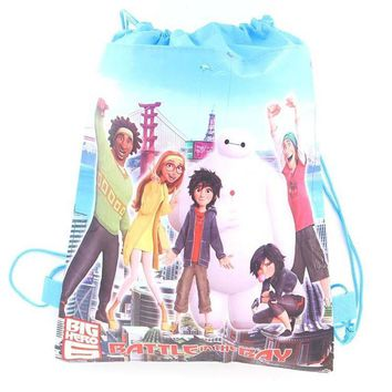 Big Hero 6 Children's Schoolbag Cartoon Children's Drawstring Backpacks for Young Bags beach travel backpack