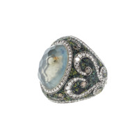 Carved Swan Ring In Moonstone | Marissa Collections