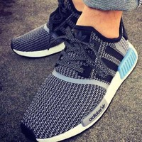 Adidas NMD Fashion Women Men Casual Running Sport Shoes Sneakers Grey Blue Logo I