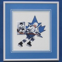 Ice-Hockey Player Cross-Stitch - Framed Sports Fanatic Gift Embroidered Picture in Blue